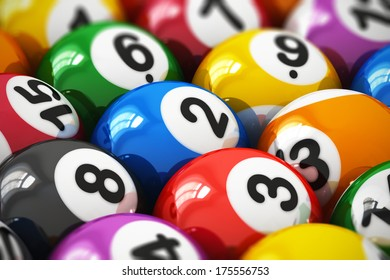 Macro view of color balls with numbers for american billiard game with selective focus effect