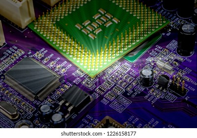 macro view of cpu pins and circuit mother board