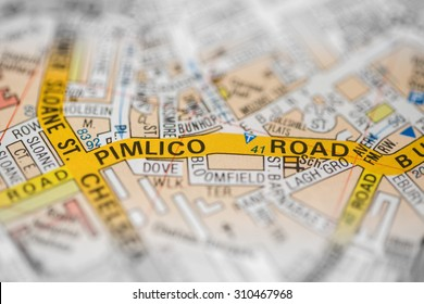 Macro view of a detailed London road map.