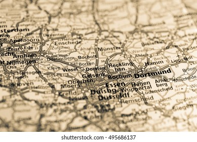 Macro view of Dortmund, Germany on map.