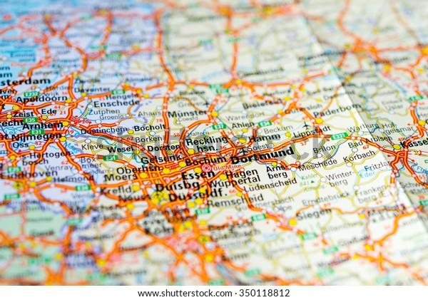 Macro View Dortmund Germany On Map Stock Photo Edit Now 350118812