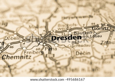 Macro View Dresden Germany On Map Stock Photo Edit Now 495686167