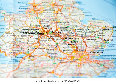 Macro view of England, United Kingdom on map.