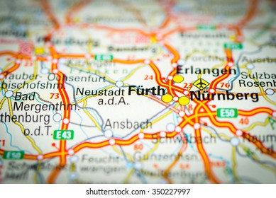 Macro View Furth Germany On Map Stock Photo Royalty Free 350118782