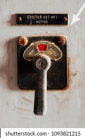 A macro view of a General Electric switch inside the coal power plant at the long abandoned Indiana Army Ammunition Plant, which produced black powder and mostly closed after the Vietnam War.