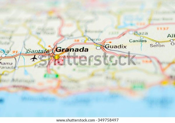Map Of Spain Granada.Macro View Granada Spain On Map Stock Photo Edit Now 349758497
