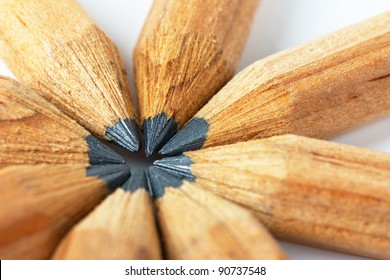 Macro view of group of lead pencils