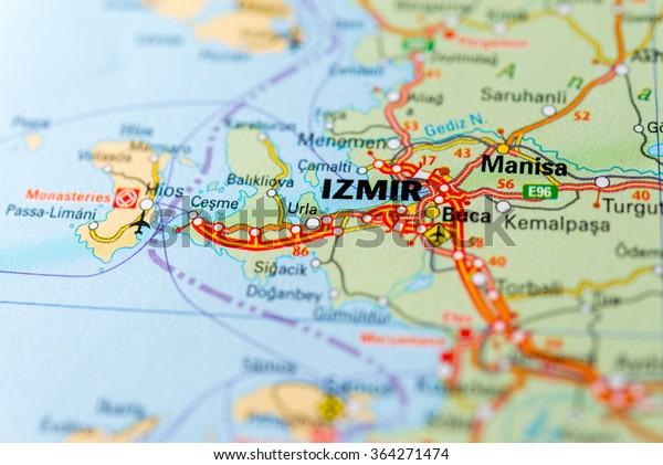 Macro View Izmir Turkey On Map Stock Photo Edit Now 364271474