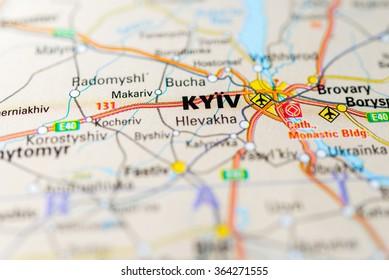 Macro view of Kiev, Ukraine on map.