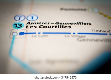Macro view of Les Courtilles station on Paris subway map.  (vignette)