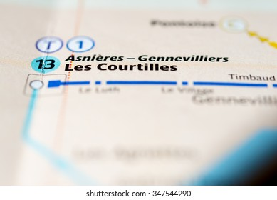 Macro view of Les Courtilles station on Paris subway map.