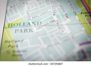 Macro view of a London map. (vignette)