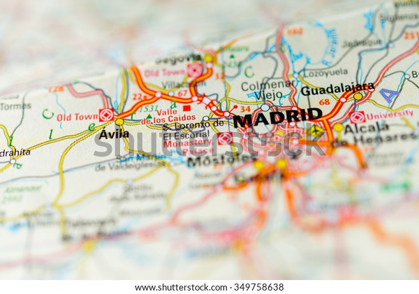 Macro View Madrid Spain On Map Stock Photo (Edit Now) 349758638 on san juan puerto rico map, jerez spain map, catalonia spain map, ibiza spain map, world map, andalucia spain map, barcelona map, tokyo japan map, zurich switzerland map, london england map, beijing china map, sydney australia map, rio de janeiro brazil map, seville spain map, france map, moscow spain map, moscow russia map, granada spain map, oslo norway map, stockholm sweden map,