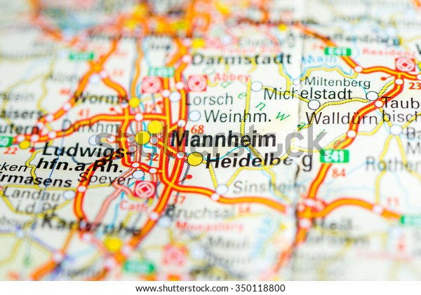Map Of Germany Mannheim.Macro View Mannheim Germany On Map Stock Photo Edit Now 350118800