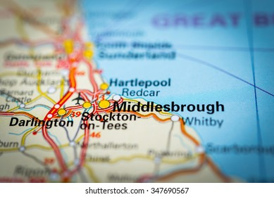 Macro view of Middlesbrough, United Kingdom on map. (vignette)