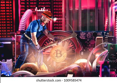 Macro view of miner working for bitcoins mine pool. Devices and technology for mining cryptocurrency. Mining cryptocurrency concept.