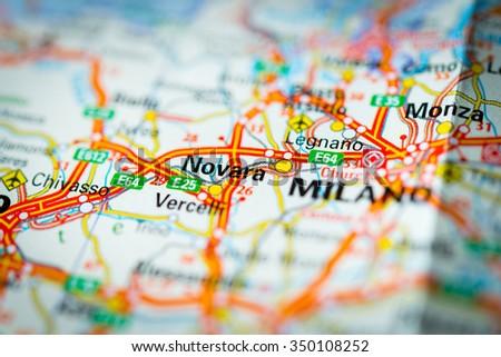Novara Italy Map.Macro View Novara Italy On Mapvignette Stock Photo Edit Now