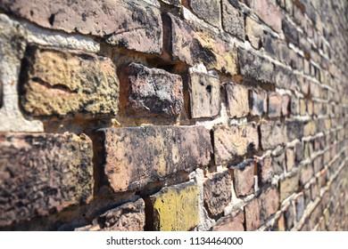 Macro view of an old brick wall