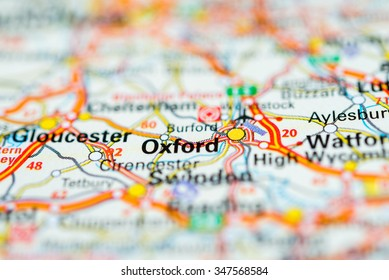 Macro view of Oxford, United Kingdom on map.