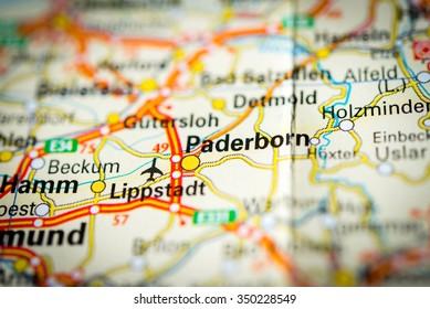 Macro view of Paderborn, Germany on map. (vignette)