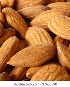 Macro view of  pile of perfect almonds