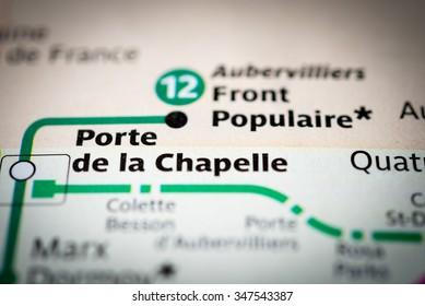 Macro view of Porte de la Chapelle station on Paris subway map.  (vignette)