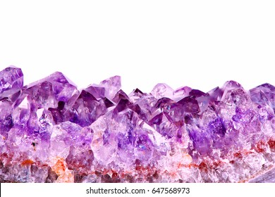 macro view of  a raw fragment of amethyst mineral gem stone