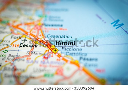 Macro View Rimini Italy On Mapvignette Stock Photo Edit Now