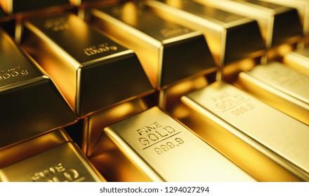 Macro view of stacks of gold bars