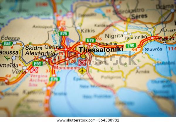 Macro View Thessaloniki Greece On Map Stock Photo (Edit Now ... on edirne world map, suez world map, lyon world map, saint petersburg world map, innsbruck world map, liverpool world map, piraeus world map, mycenaean world map, cardiff world map, leipzig world map, nantes world map, delphi world map, dresden world map, republic of macedonia world map, trier world map, edessa world map, bari world map, konya world map, suzhou world map, regensburg world map,