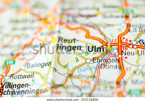 Map Of Germany Ulm.Macro View Ulm Germany On Map Stock Photo Edit Now 350118806