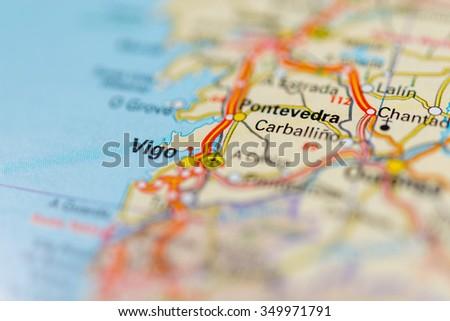 Macro View Vigo Spain On Map Stock Photo Edit Now 349971791