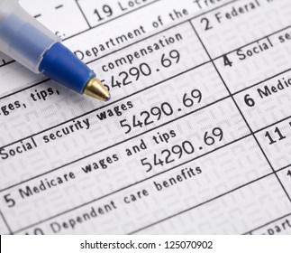 Macro of W2 1040 Form and pen for tax day.