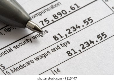 Macro of W2 1040 Form for tax day.
