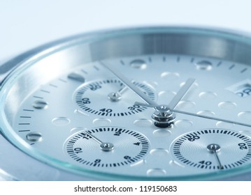 Macro of watches, narrow focus, colour is manipulated