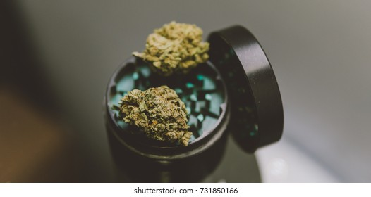Macro weed Buds.Close up of a marijuana flower  lying on color grinder