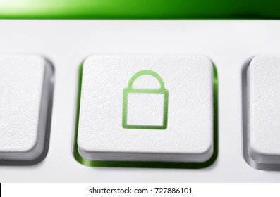 Macro Of A White Button With Green Closed Security Lock Icon