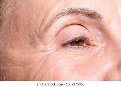 Macro of wrinkled woman eye