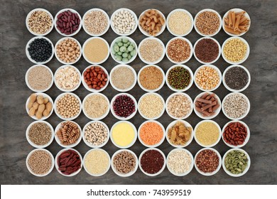 Macrobiotic health food with a selection of legumes, seeds, nuts, grains, vegetables, cereals and whole wheat pasta with super foods high in protein, omega 3, antioxidants & vitamins. Immune boosting
