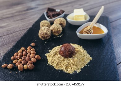 Macrobiotic healthy food. Balls from ground wheat sprouts