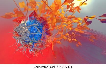 Macrophage Human papilloma viruses HPV tuberculosis bacteria Mycobacterium tuberculosis, 3D illustration