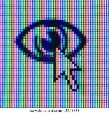 Macrophoto of a matrix of the monitor with an icon and the cursor