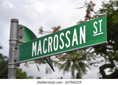 Macrossan Street sign in Queensland town of Port Douglas in Australia