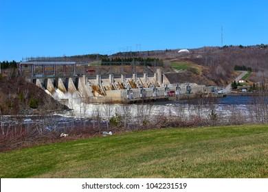 Mactaquac dam in springtime near Fredericton, New Brunswick, Canada