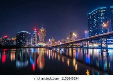 Macua- May 2,2018 : Night view of Building and the skyline with casino of Macau,China.