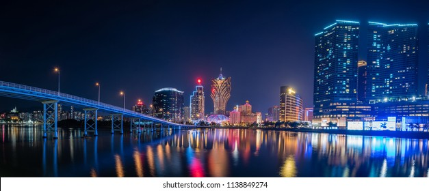 Macua- May 2,2018 : Panorama night view of Building and the skyline with casino of Macau,China.