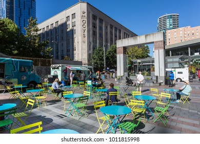 Macy's and cafe in Westlake Park on a sunny day, Downtown, Seattle, Washington, USA, North America 21 September 2017