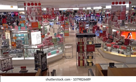 Macy's retailer cosmetics make up beauty counters, Saugus, Massachusetts USA - December 2, 2017