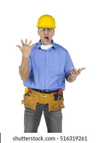Mad angry and frustrated construction worker showing aggressive body language, isolated on white background
