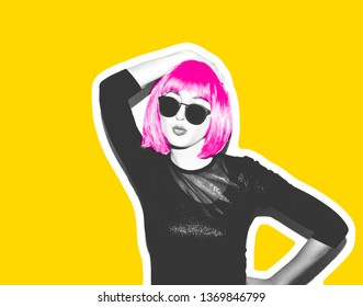 Mad beautiful rock Girl in a bright pink wig with acid and red llama fur. Dangerous rocky party is boring, a woman ironically having fun. Flash style on a yellow bright background exclusive